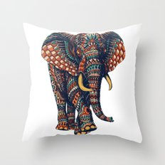 Ornate Elephant v2 (Color Version) Throw Pillow