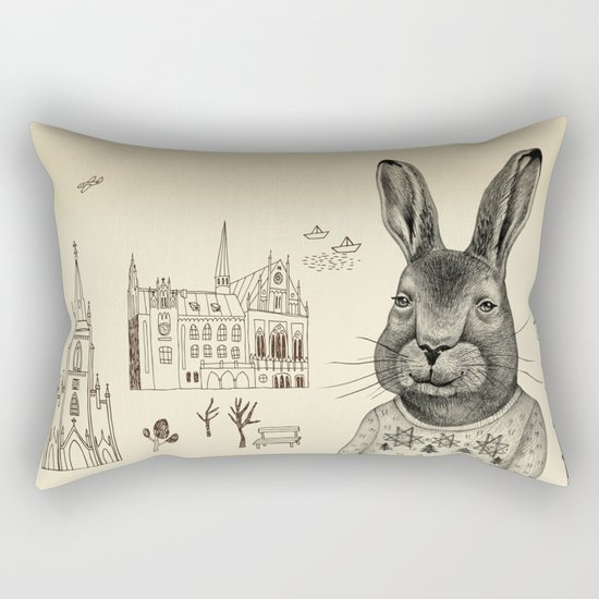He's travelling around the world by his own. Rectangular Pillow
