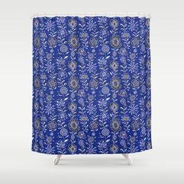 wonky wildflower waterfall ... in indigo Shower Curtain