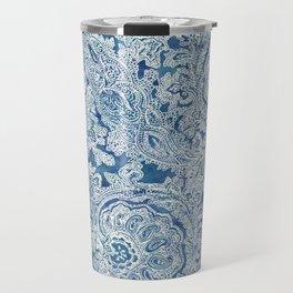 Blue Boho Paisley Pattern Travel Mug