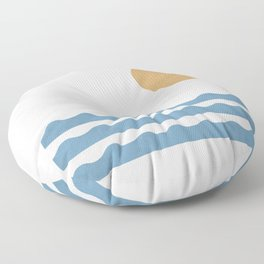 Sun Wave - Seascape Abstract  Floor Pillow