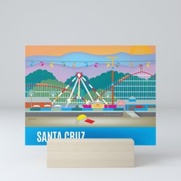 Santa Cruz, California - Skyline Illustration by Loose Petals Mini Art Print
