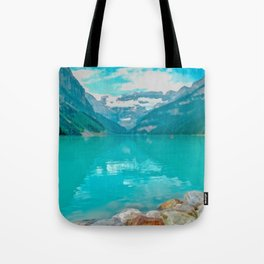 Digital Painting of a Sunny Summer's Day over Lake Louise in Banff National Park, Alberta Tote Bag