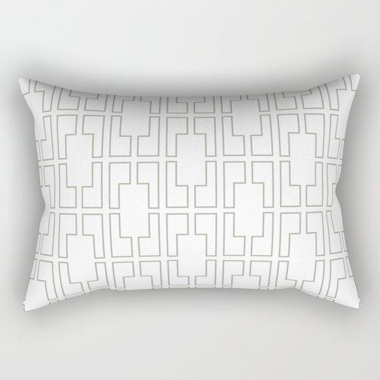 Simply Mid-Century Retro Gray on White Rectangular Pillow