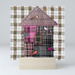 Birdhouse in pink Mini Art Print
