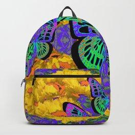 DECORATIVE BUTTERFLIES ON GOLDEN POPPY FLORAL ART Backpack