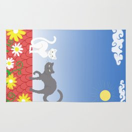 Cats on the roof Rug