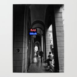 Bar Tabacchi in Bologna Black and White Color Splash Photography Poster
