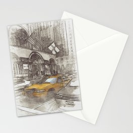 NYC Yellow Cabs Avenue - SKETCH Stationery Cards