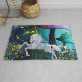 Cute little horse in the mushroom forrest Rug
