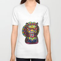 hippo V-neck T-shirts featuring Hippo. by Farkas
