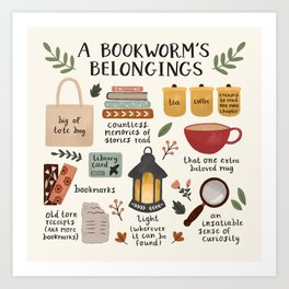 A Bookworm's Belongings Art Print