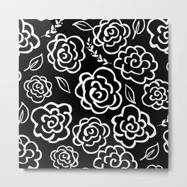 Large Floral Outlines - White/Black Metal Print