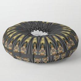Dark Black Gold & White Marble Mandala Floor Pillow