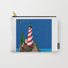 An Eclipse at the Coast with a Lighthouse in Foreground Carry-All Pouch