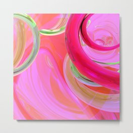 modern minimalist watercolor mint green magenta fuschia pink abstract  Metal Print