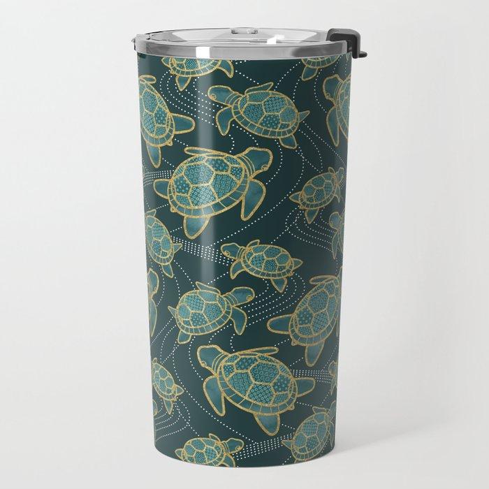 Japanese Pond Turtle / Teal Travel Mug
