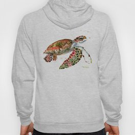 Sea Turtle, Brown, Olive green Pink Shades Hoody