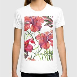 Tropical Background. watercolor tropical leaves and plants. Hand painted jungle greenery background T-shirt