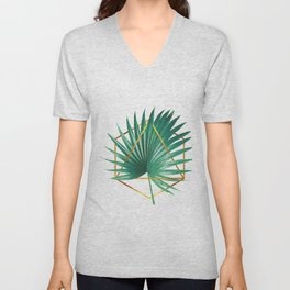 Minimal Tropical Palm Leaf - Palm And Gold - Gold Geometric Shape - Modern Tropical Wall Art - Green Unisex V-Neck