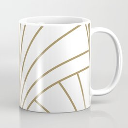 Round Series Floral Burst Gold on White Coffee Mug