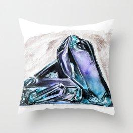 Rainbow Fluorite Crystals Watercolor Throw Pillow