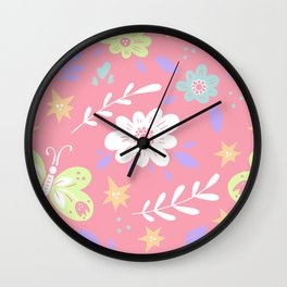 Pink Pattern with Flowers and butterflies Wall Clock