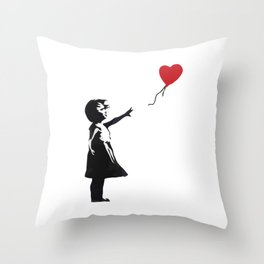 Banksy - Girl With Balloon Throw Pillow