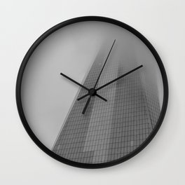 One World Trade Center on a Foggy Day Wall Clock