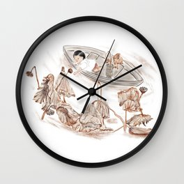 Girl and withered lotus Wall Clock
