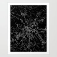 poland Art Prints featuring Warsaw map poland by Line Line Lines