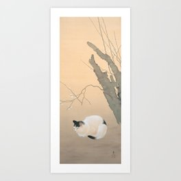 Cat and Plum Blossoms Japanese Painting Art Print
