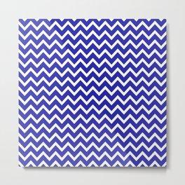 Zigzag (Navy & White Pattern) Metal Print