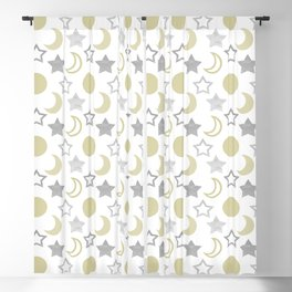 Gold Moons and Silver Stars Blackout Curtain