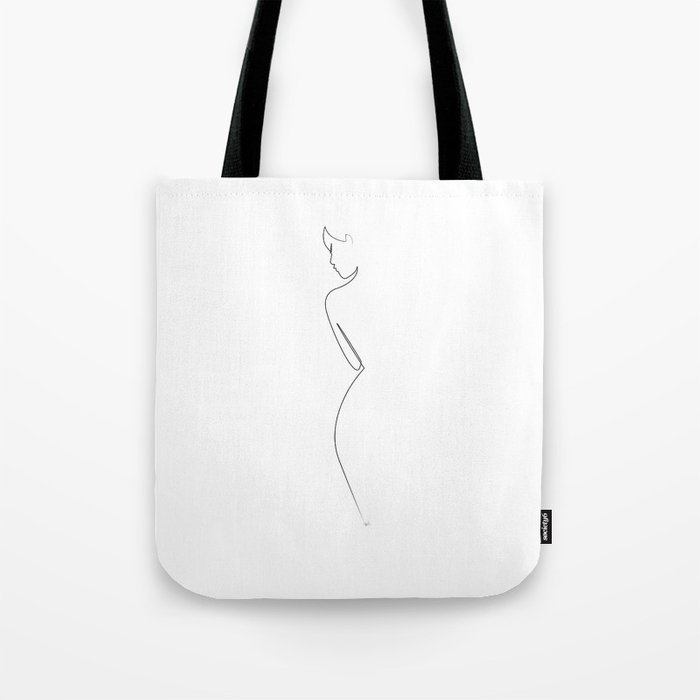 One line Nude on White Tote Bag