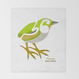 Rock Wren New Zealand Bird Throw Blanket