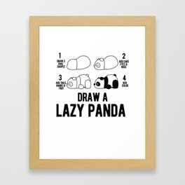 Draw a lazy Panda fun animal step by step painting Framed Art Print