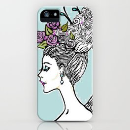 Wedding Princess Hair with Roses iPhone Case