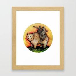Bear-Mounted Raccoon Patrol Framed Art Print