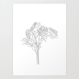 Peony floral bouquet illustration Art Print