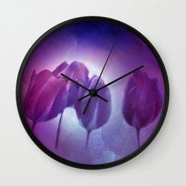 4 purple tulips on watercolor Wall Clock