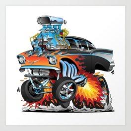 Classic hotrod 57 gasser drag racing muscle car cartoon Art Print