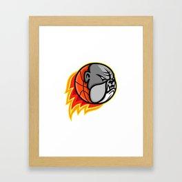 Bulldog Blazing Basketball Mascot Framed Art Print