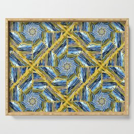 golden day kaleidoscope pattern Serving Tray