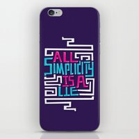 risa rodil iPhone & iPod Skins featuring All Simplicity is a Lie by Risa Rodil