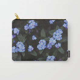 Blue Dark Floral Garden: Forget-me-nots Carry-All Pouch