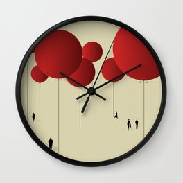 City of Red Balloons Wall Clock