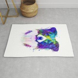 Border Collie watercolor, Watercolor Border Collie, Watercolor dog, Border Collie portrait Rug