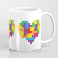 tetris Mugs featuring Tetris Heart by Shannon's Sketchfest