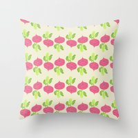 vegetable Throw Pillows featuring VEGETABLE-RADISH! by Claudia Ramos Designs